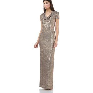 NEW JS Collections Cowl Neck Gold Sequin Gown